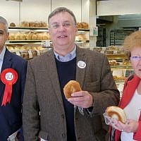 Sadiq Khan, Andrew Dismore, and Alison Moore at Carmelli's in Golders Green