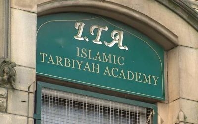 The Islamic Tarbiyah Academy in Yorkshire is publishing leaflets promoting the Protocols of the Elders of Zion, the fabricated anti-Semitic text describing a so-called Jewish plot for global domination. [Picture: Sky News]
