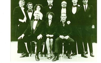 Steven Berkoff (seated front row right) as Hamlet in the production he directed and took to Israel in 1980