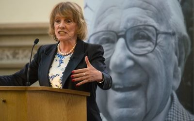 Esther Rantzen at the Guildhall in London on what would have been Sir Nicholas's 107th birthday.