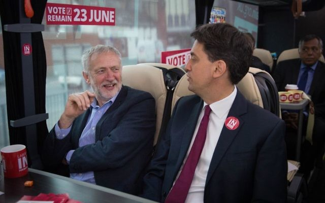 Corbyn and Miliband on the Remain battle bus.
