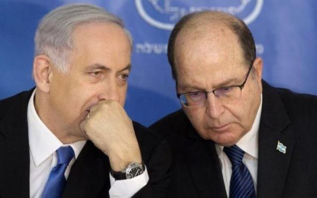 Moshe Yaalon with Benjamin Netanyahu.