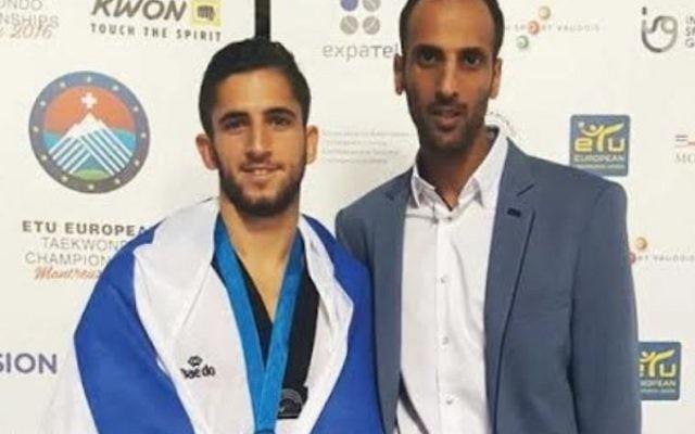 Atias (left) won silver in Switzerland. Picture: Israel Taekwondo Association.