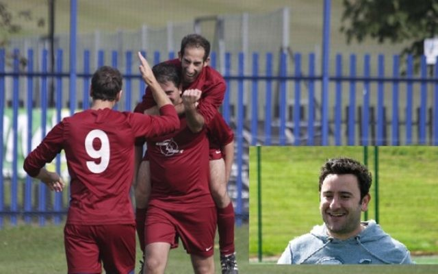 Blizzard Storm in happier times, celebrating a goal on their way to promotion, inset - former manager Simon Linden