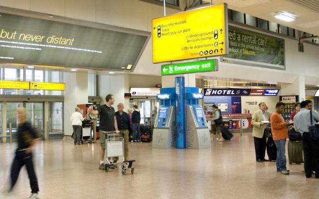 An arrivals hall at Heathrow airport.