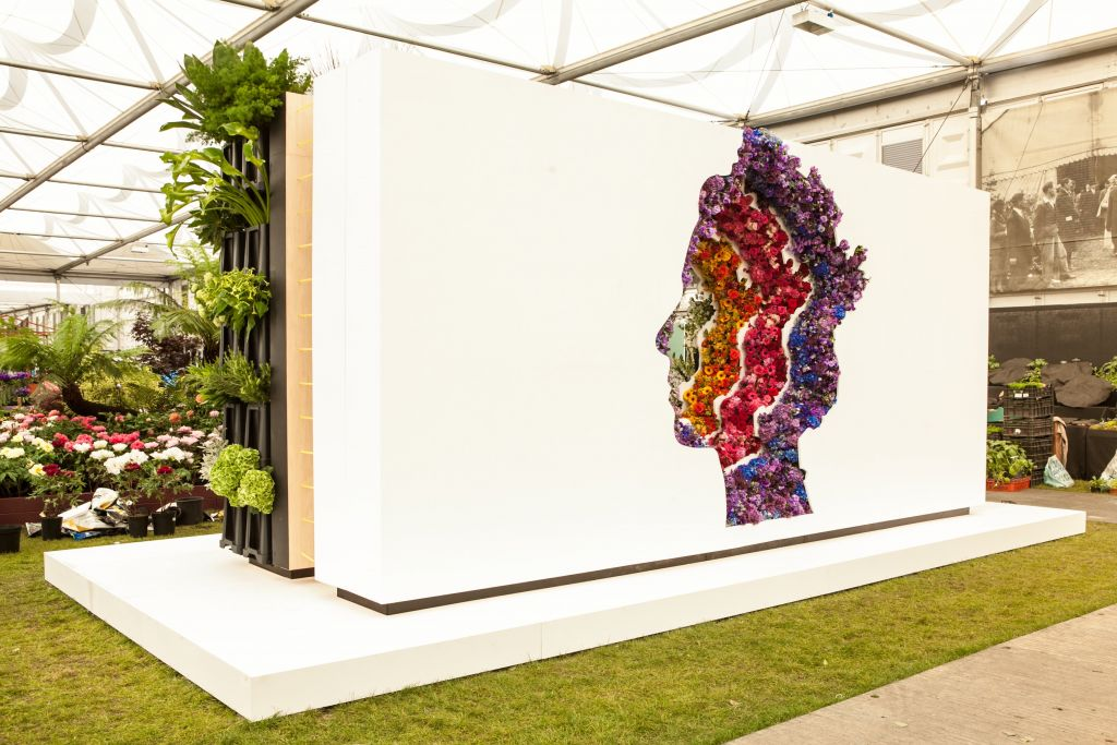 New Covent Garden Flower Market's debut stand, 'Behind Every Great Florist', designed by Veevers Carter and Gaby Lebetkin