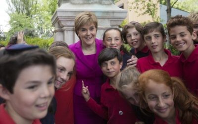 Scottish First Minister Nicola Sturgeon meets pupils from the Independent Jewish Day School.