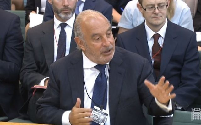 Sir Philip Green gives evidence to the Business, Innovation and Skills Committee and Work and Pensions Committee at Portcullis House, (Photo credit: PA Wire)
