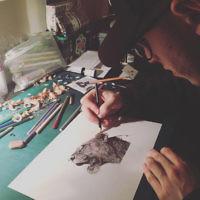 Borehamwood-based Jordan Dawson hard at work in his studio at home