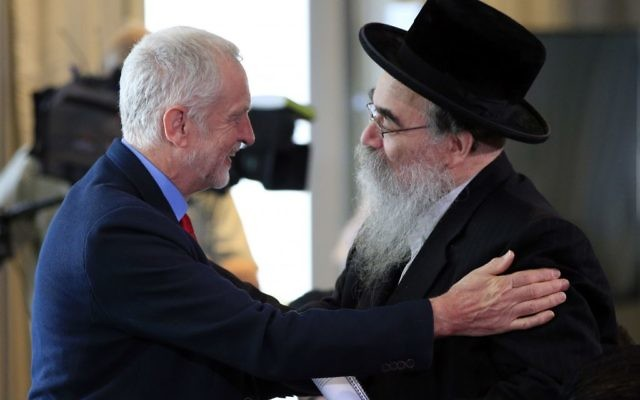 Corbyn meets Rabbi Pinter at the launch of the Chakrabarti report