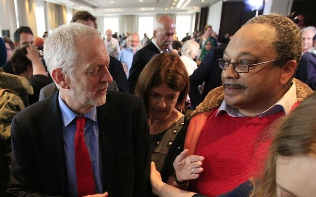 Labour Leader Jeremy Corbyn with Marc Wadsworth (right), who runs Momentum Black Connexions, following a speech on Labour's anti-Semitism inquiry findings.