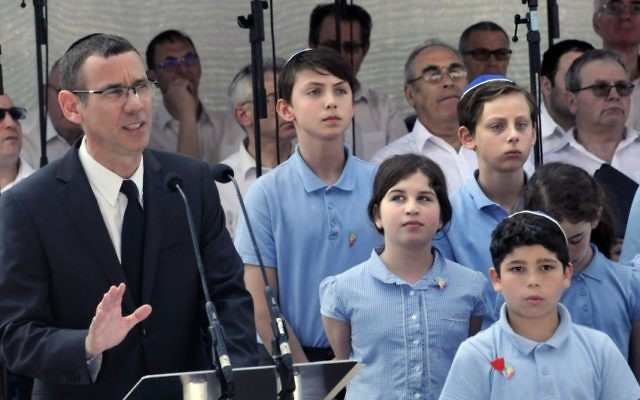 Mark Regev addressing the Jewish community at the Yom Hashoah ceremony at Barnet Copthall stadium  (Picture credit: John Rifkin)