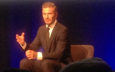 David Beckham speaking with Kirsty Young in front of the excitable JW3 audience
