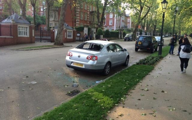 The car following the explosion opposite the Israeli embassy. [Picture: Twitter]