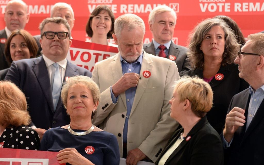 Jeremy Corbyn surrounded by Labour MPs and supporters