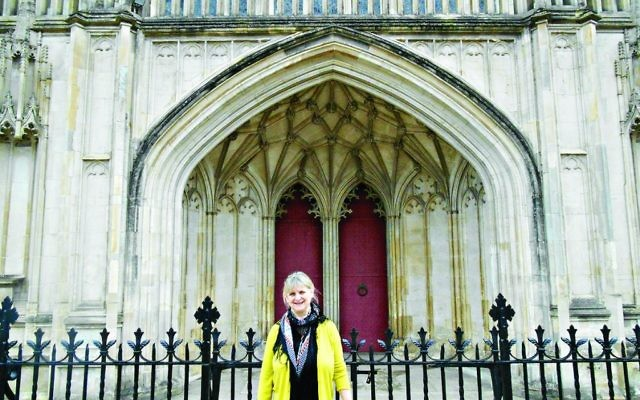 Lucy outside Winchester Cathedral