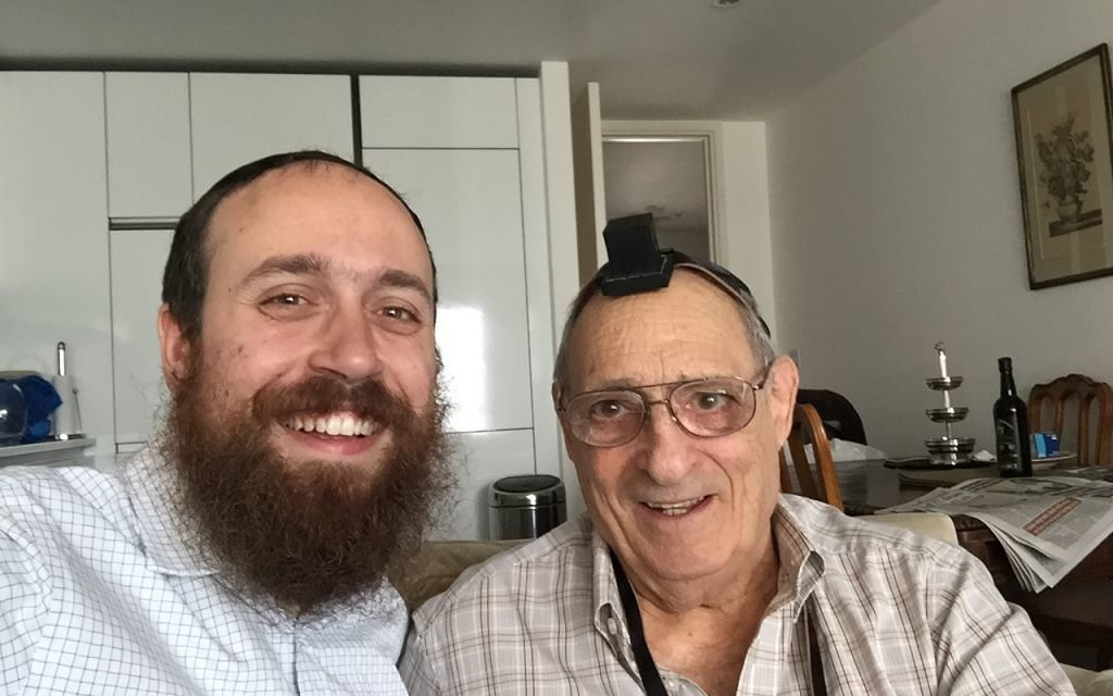 With Rabbi Mendy Korer (l) with Samuel Lyons (r) after the bar mitzvah boy laid tefillin