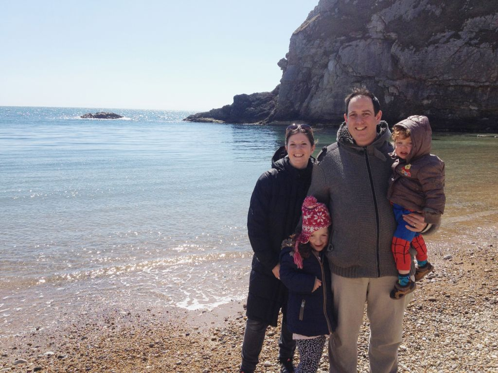 Francine and her family at Durdle Door