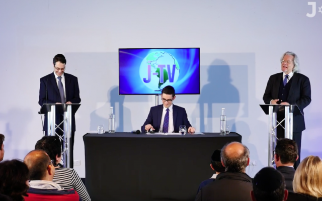 Rabbi Rowe (left) with Oliver chairing the debate (centre) and AC Grayling (right)
