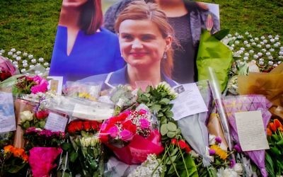 Floral tributes at the memorial site for Jo Cox MP at Parliament Square in London.
