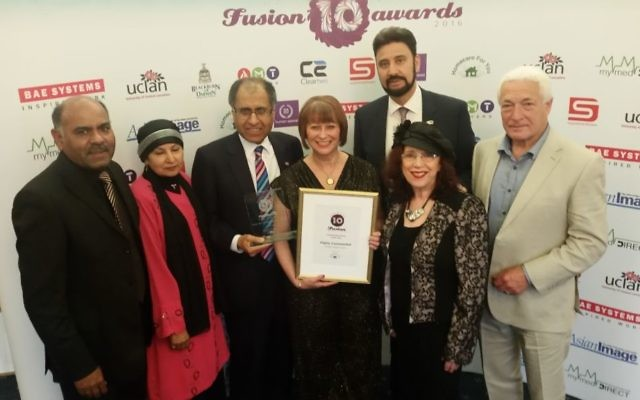 The Muslim Jewish Interfaith Forum celebrate their victory at the Fusion Awards