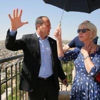 Dame Helen Mirren with Jerusalem Mayor Nir Barkat