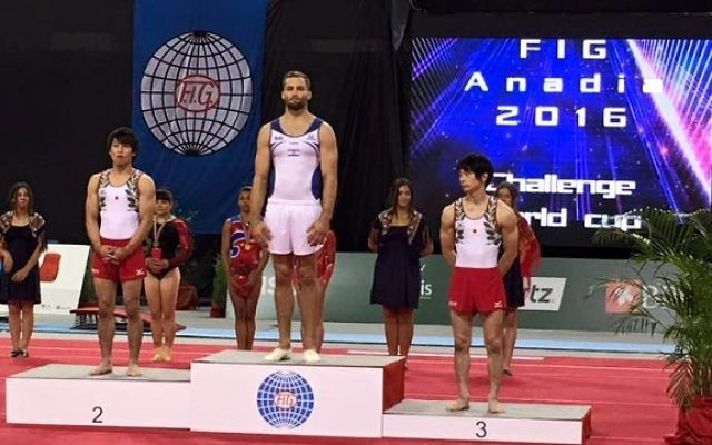 Shatilov with his gold medal. Picture: Israeli Gymnast Federation