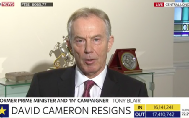 Former Prime Minister Tony Blair on Sky News