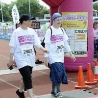 Tuffkid nursery head Janice Marriott and teacher Barbara Raymond crossed the finish line for Kisharon