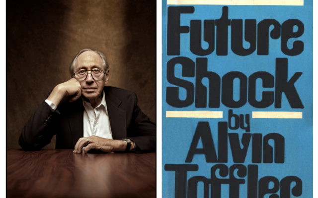 Alvin Toffler (L) with his most famous work 'Future_shock' (R)