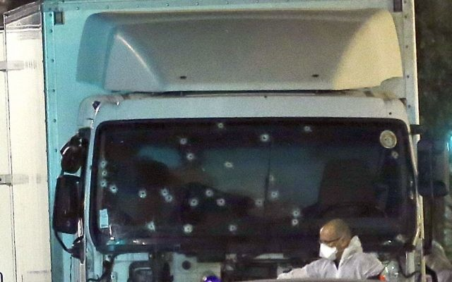 Bullet holes in the lorry used by a terrorist to murder over 80 people in the French coastal city of Nice