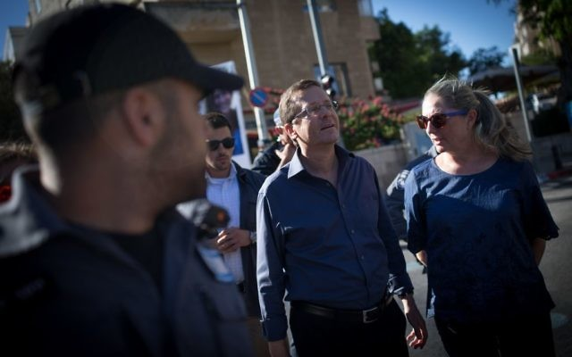 Israel's opposition leader, Isaac Herzog at the Jerusalem Pride March (Photo credit: JINIPIX)