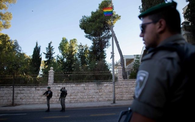 There was very heavy security during this year's event, after the tragic murder at the following year's Jerusalem Pride (Photo credit: JINIPIX)