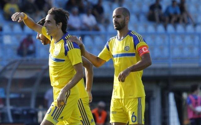 Yossi Benayoun celebrates his debut goal. Picture: Maccabi Tel Aviv