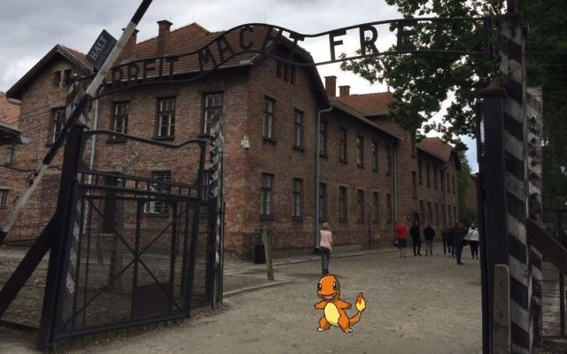 A twitter user posts a clip of a Pokemon at Auschwitz