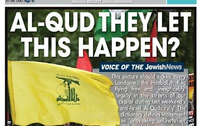 Jewish News front page after Al Quds Day 2017