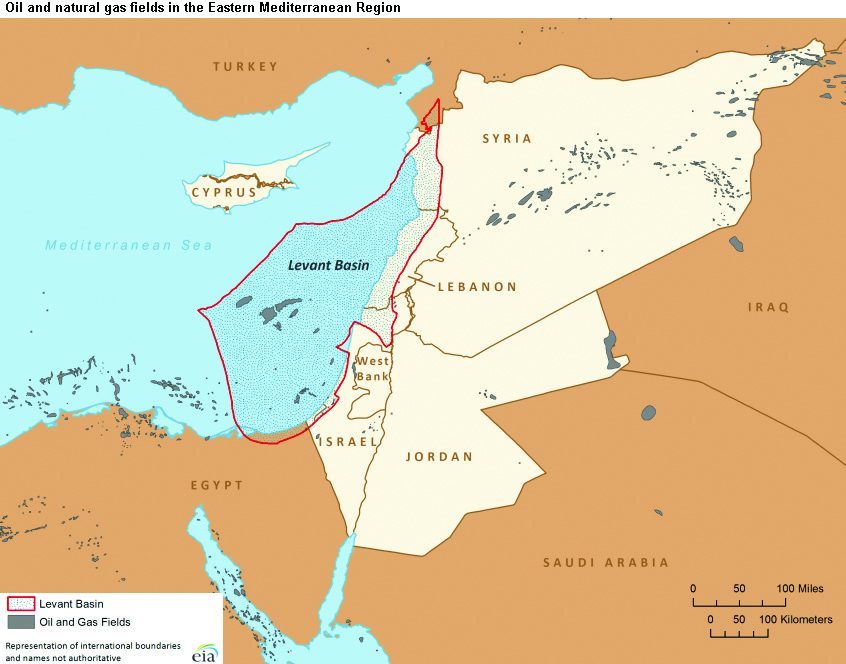 Map showing the possible extent of natural-gas deposits off Israel's coast