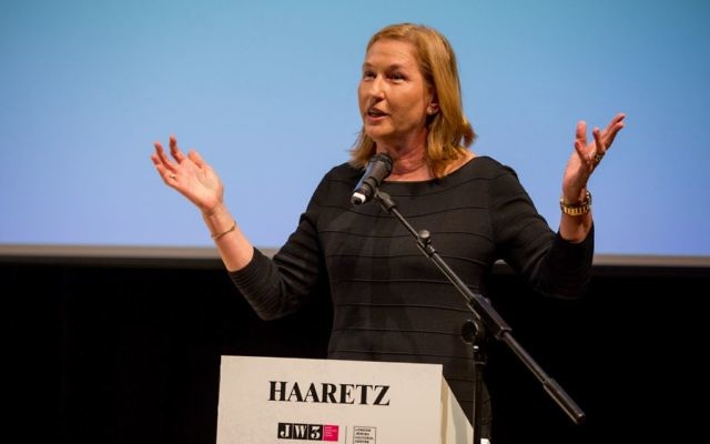 Tzipi Livni speaking at the conference at JW3 (photo credit: Shai Dolev)