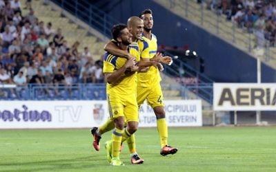 Maccabi Tel Aviv celebrate their opener in Romania. Picture: Maccabi Tel Aviv