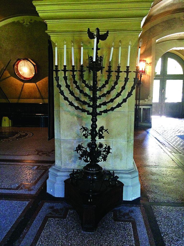 Menorah in synagogue hall at Lancut Castle
