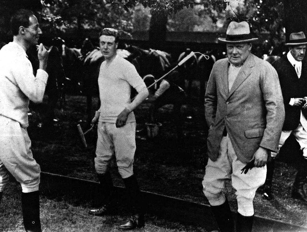 Sassoon, Edward Prince of Wales and Winston Churchill in the garden at one of Sassoon's homes