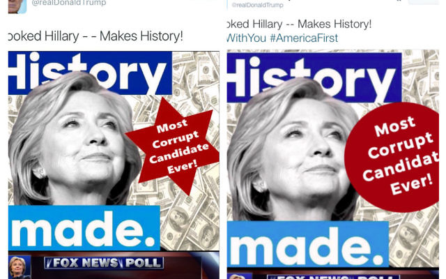 The original tweet sent by Donald Trump picturing Hillary with the Star of David, and the amended version.