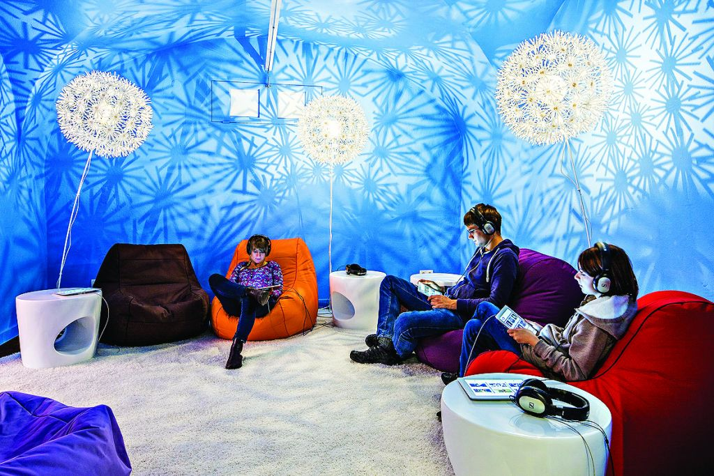 Visitors to the Jewish Museum in Hohenems, relax in the 'Jewtube' lounge, which has come to London (Photo Dietmar Walser)
