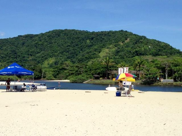 The white sand at the confluence of the river and the ocean in the Itamambuca Eco Resort