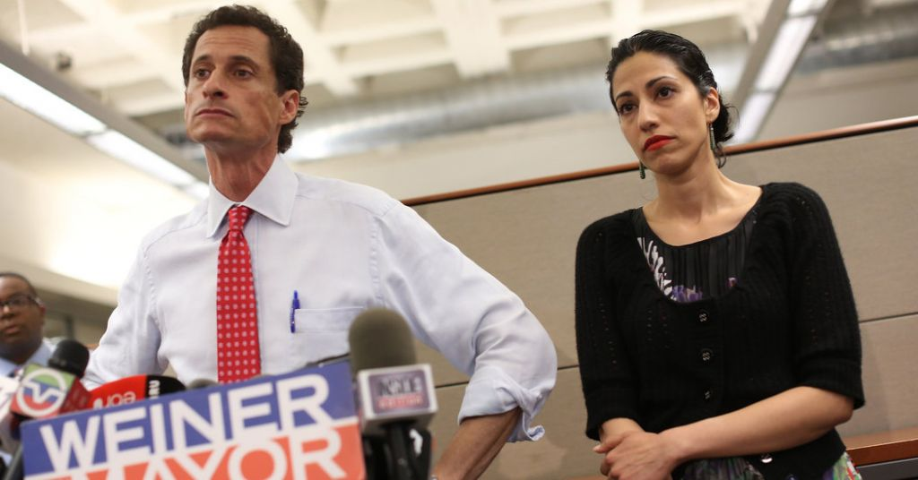 Under strain: The documentary shows tensions growing between Weiner and his wife Huma Abedin
