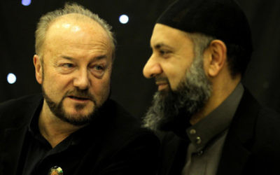 Former MP George Galloway with Ismail Patel chairman of Friends of Al Aqsa Peace in Palenstine Glasgow branch, during his visit to the Central Mosque in Glasgow, after he said he may end his political career in Scotland if he secured a seat in this year's Scottish Parliament election.