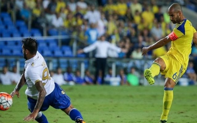 Gal Alberman fires Maccabi Tel Aviv into an early lead. Picture: Maccabi Tel Aviv FC