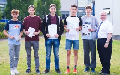 JFS students celebrating their results (Photo credit: Blake Ezra)