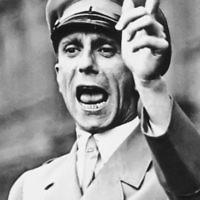 Goebbels giving a speech in Berlin (1934).