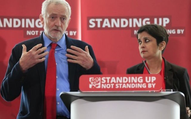 Labour leader Jeremy Corbyn alongside Shami Chakrabarti at the enquiry into anti-Semitism in the party